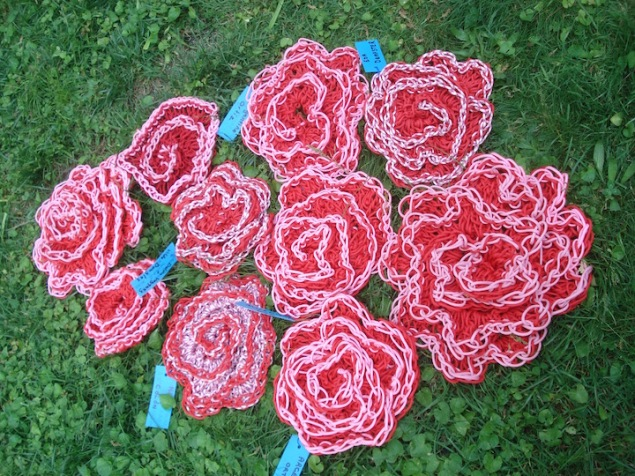 crocheted roses. With contributions from the senior ladies from RAIN Boston Secor senior center.