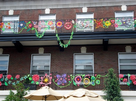 knitted, knotted, crocheted, macrame floral display for outdoor installation at Montefiore Health system, 2016.