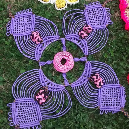 macrame flower for Hanging Garden art installation.